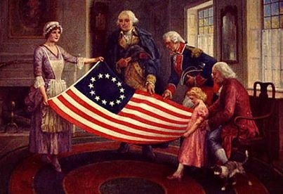 American Flag Betsy Ross & George Washington