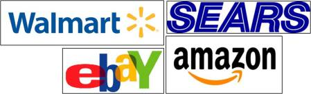 Walmart Sears eBay & Amazon Logos