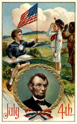 July 4th Postcard Abraham Lincoln