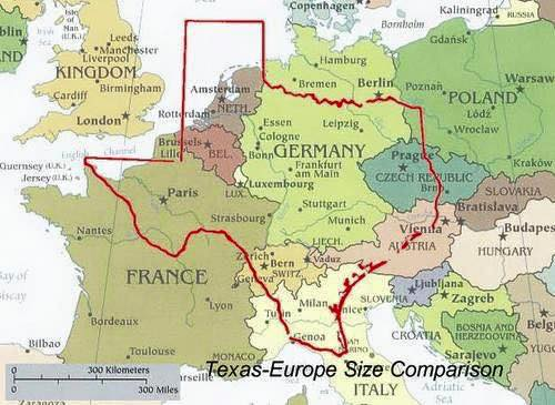 Texas compared to European countries
